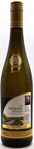 Moselland Riesling Spätlese Weißwein fruchtig und süss, 6er Pack ( 6 x 0,75l)