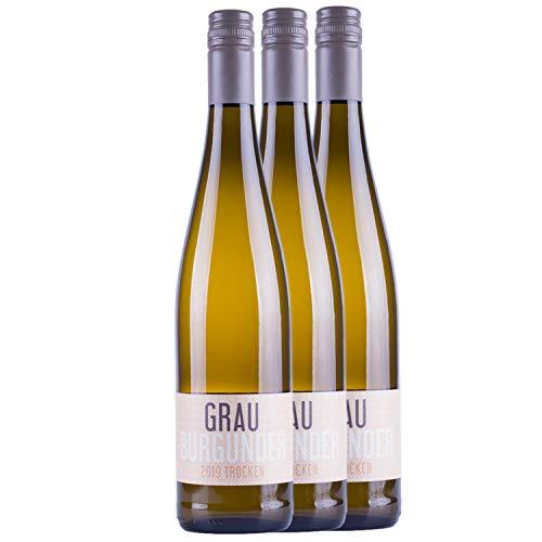 """Nehrbaß - """"Grauburgunder 2020"""" Weißwein trocken 3 x á 0,75 Liter - Qualitätswein - Vegan - Aus Deutschland (Rheinhessen) - Trockener Weiß-Wein mit Schraubverschluss"""