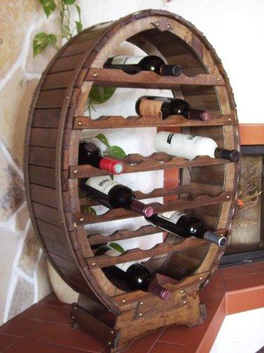 DanDiBo Weinregal Holz Stehend Weinfass 24 Flaschen Braun Flaschenregal Flaschenhalter Fass